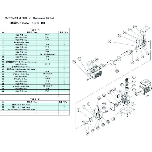 ULVAC GHD-101用メンテナンスキットA GHD-101 MAINTENANCEKIT A