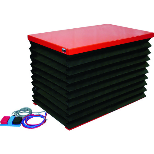 【直送品】TRUSCO テーブルリフト250kg 電動Bねじ式 DC12Vバッテリー専用 蛇腹付 520×850 HDL-H2558RJ-D1