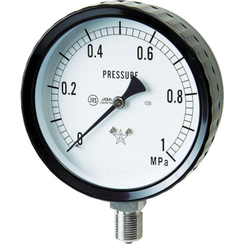 右下 ステンレス圧力計(A枠立型・φ100) 圧力レンジ0~0.10MPa G411-261-0.1MP