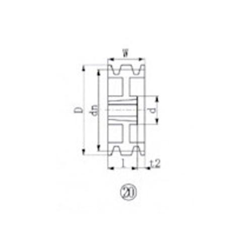 EVN ブッシングプーリー SPB 218mm 溝数3 SPB218-3