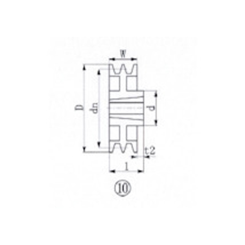 【個別送料1000円】【直送品】EVN ブッシングプーリー SPB 300mm 溝数2 SPB300-2