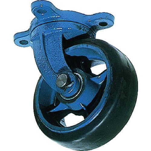 【運賃見積り】【直送品】京町 鋳物製自在金具付ゴム車輪(幅広) 200Ф×75 AHJ-200X75