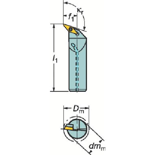 サンドビック コロターン107 ポジチップ用ボーリングバイト A20S-SVQBL 11-EB1