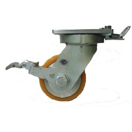 ヨドノ 超重量用高硬度ウレタン自在車ストッパー・旋回ロック付 2000kg用 HDUJ200ST-TL