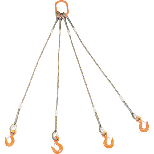 TRUSCO 4本吊りWスリング フック付き 6mmX1.5m GRE-4P-6S1.5