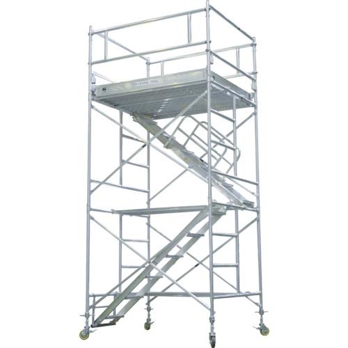 【運賃見積り】【直送品】ピカ アルミパイプ製移動式足場ARA-A型内階段仕様 3段アウトリガー付き ARA-3UHA
