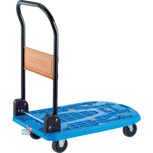 【個別送料1000円】【直送品】TRUSCO 樹脂台車 カルティオ 折畳 780X490 青 樹脂ストッパー付 MPK-720-B-JS