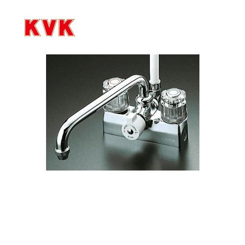 [KF205]KVK 浴室水栓 シャワー水栓 2ハンドルシャワー デッキ形(台付き) 取付ピッチ100mm 一時止水 逆止弁 エコこま(快適節水) 蛇口 【送料無料】 デッキタイプ おしゃれ