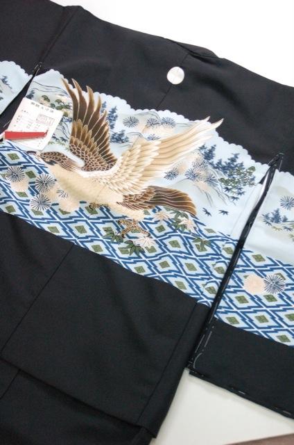 【七五三】男の子紋付き 着物と羽織セット 100930-05