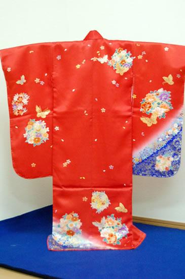 三つ身正絹着物-02 花鞠に蝶