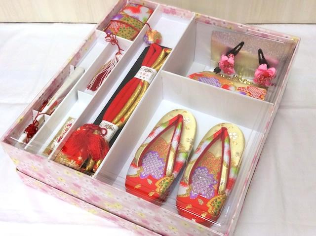 草履バッグ・はこせこセット 桜 金×赤 6001