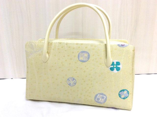 【和座一色】帯地使用お茶席ボストンバッグ 正絹 日本製 クリーム