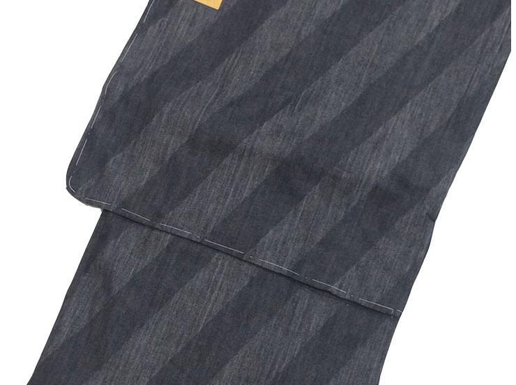 デニム着物【男性】 仕立上がり 単衣 斜め縞 チャコール Lサイズ