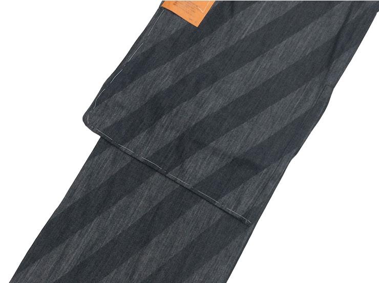 デニム着物【女性】 仕立上がり 単衣 斜め縞 チャコール Mサイズ