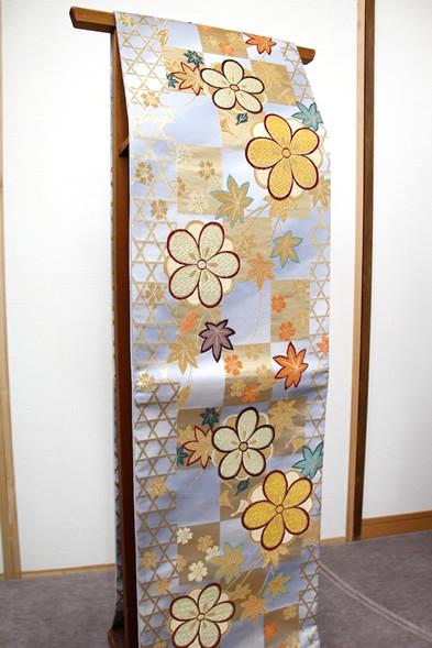 袋帯 全通 紅葉 桜 市松模様 150-7127jpx