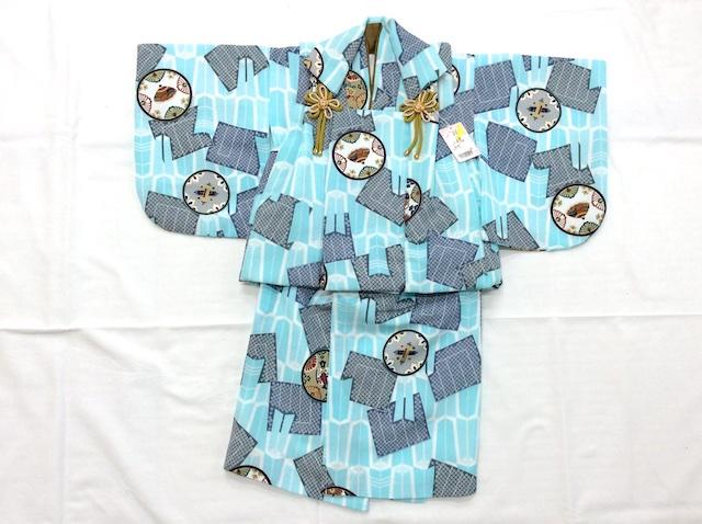 【お食い初め】男の子着物 被布セット ベビー 0歳 一つ身 水色 6176-1