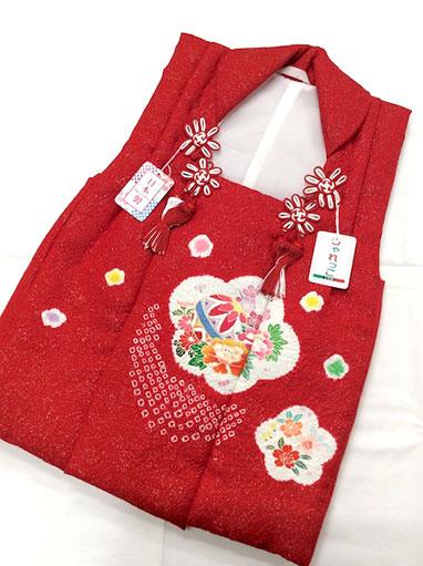 【しゃれっこ】三歳正絹被布コート 七五三 お祝着 日本製 赤 ラメ 絞り 鞠