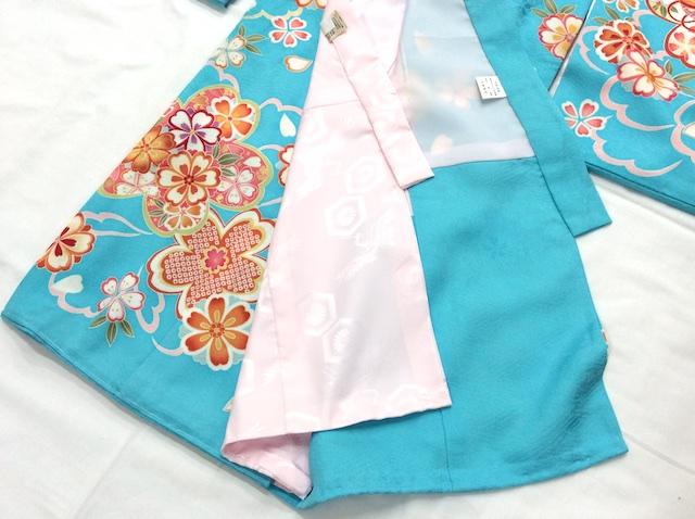 女の子正絹初着 一つ身 水色地に桜 青
