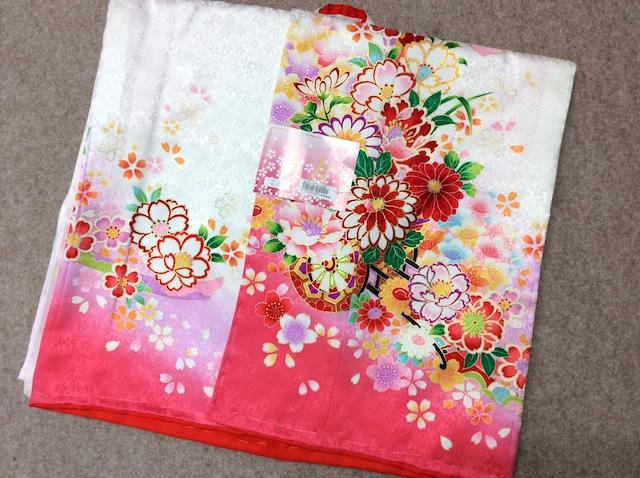 【扇寿】女の子正絹四つ身 長襦袢付 白 花車 桜 鞠 七五三 d25-845019