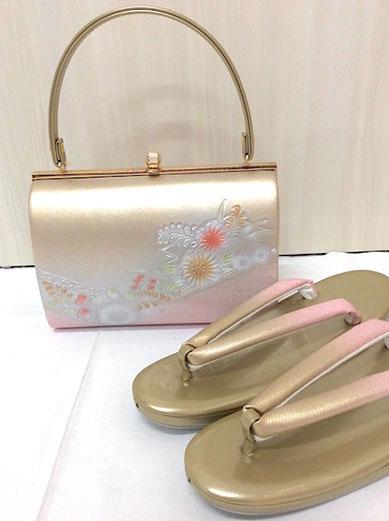 草履バッグセット 草履Mサイズ ゴールド ピンク ぼかし 141-2958-2