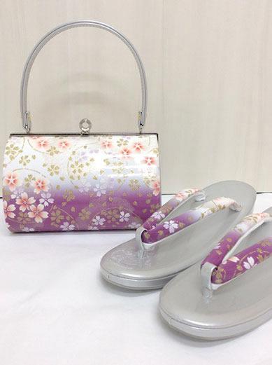 草履バッグセット 赤紫 白 ぼかし 円に桜 141-2958-5