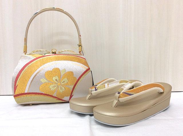 【紗織】西陣織正絹帯地草履バッグセット M 日本製 パールトーン加工 14410-1