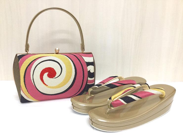 草履バッグセット ピンク 振袖 フリーサイズ 283-801-1