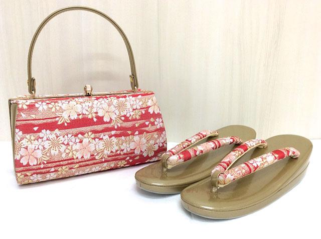 草履バッグセット 桜 赤 金 草履F 32-02399-5