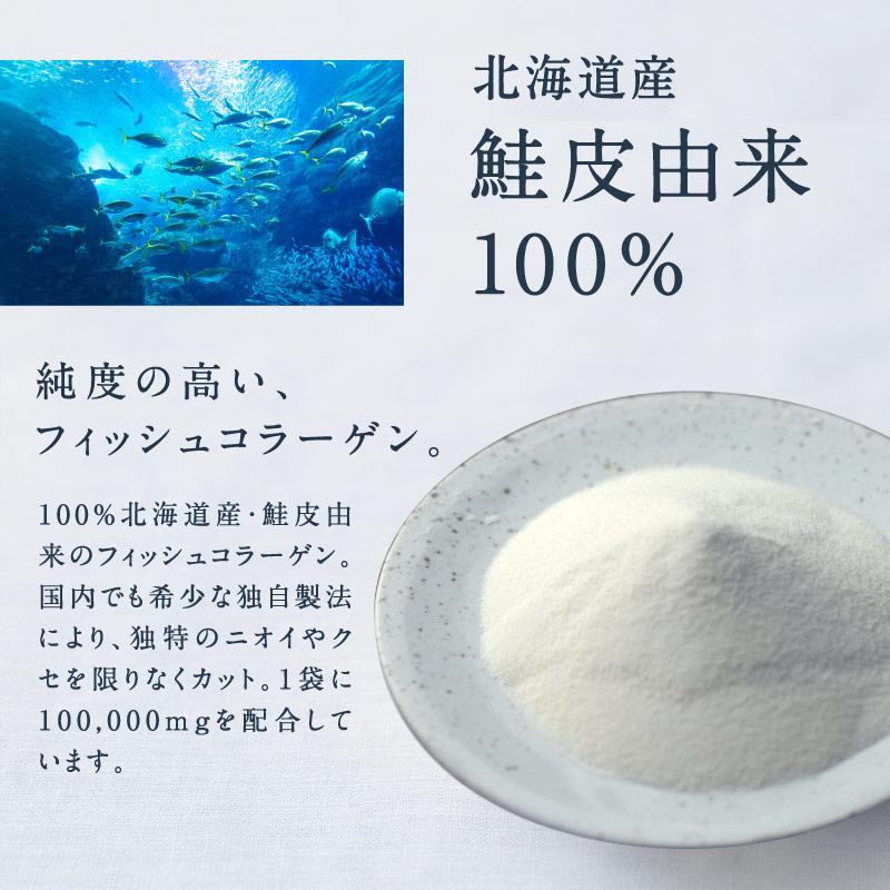 こなゆきマリンコラーゲン100000mg希少な北海道産鮭皮原料とこなゆきコラーゲン独自の製法で限りなく、高純度・無味・無臭を実現した低分子コラーゲンペプチド 無添加 糖質ゼロ 脂質ゼロ 粉末 粉雪コラーゲン 美容 フィッシュコラーゲン