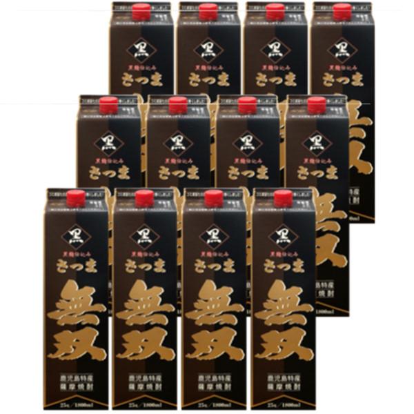本格芋焼酎 さつま無双 黒ラベル 25度1800mlパック 2ケース(12本)