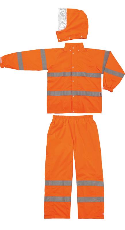 スミクラ 高視認性レインスーツ A-611 蛍光オレンジ S-5L 上下組 男女兼用 送料無料 雨具 合羽 レインウェア  夜間安全