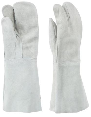 東和コーポレーション 革手袋  牛床革3本指 W-333 460 フリー グレー 12双組 溶接用革手袋