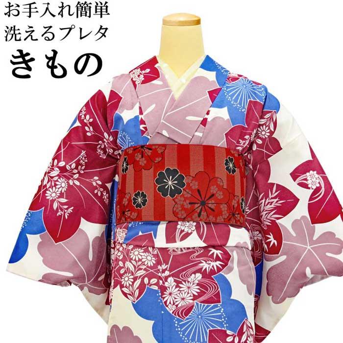 プレタ着物 洗える 半幅帯 細帯 2点セット 赤色 青色 小紋 カジュアル お洒落着 仕立て上がり 適応身長約 152cmから160cm前後