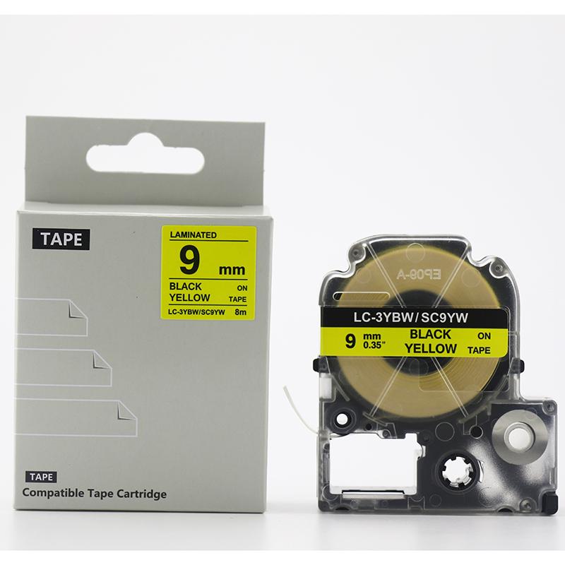 テプラ互換テープ テプラテープ 新入学準備やファイル整理に 9mm幅 8m 黄テープ 黒文字 エプソン キングジム用 テプラ 汎用テープ sc9yw互換 名前ラベル テープカードリッジ 人気 おすすめ 互換テープ 人気急上昇 ラベリング PRO 名前シール テプラPRO互換テープカートリッジ