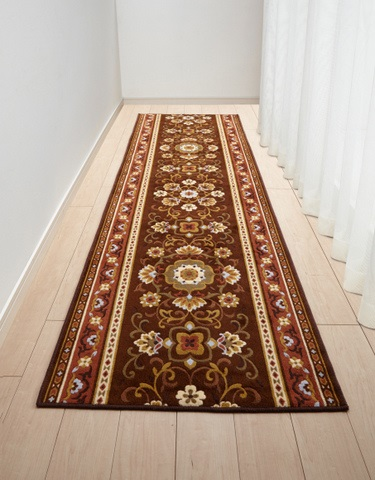 80cm×340cm 廊下敷き ブラウン アラベスク 三愛繊維