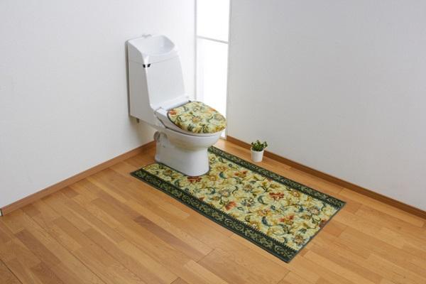 80cm×160cm トイレマット(+ふたカバー40cm×45cm) グリーン オリエンタル更紗 三愛繊維