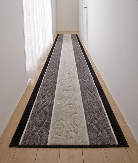 80cm×340cm 廊下敷き グレー トルコ製生地 三愛繊維