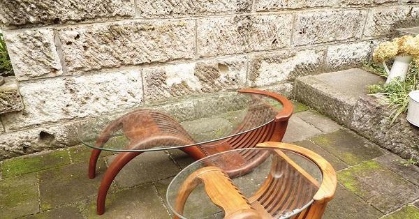 ジャービス チークガラステーブル(塗装品) 36324