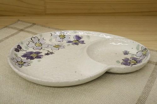 瀬戸焼 粉引色桜 仕切皿(紫)  5枚セット