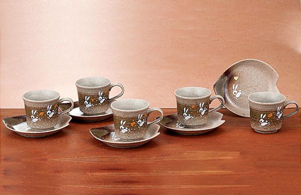 K4-1045 九谷焼 コーヒーセット はねうさぎ
