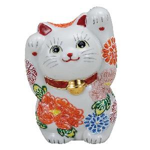 K5-1560 九谷焼 4号両手招き猫 花づくし