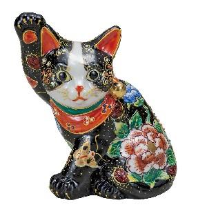 K5-1578 九谷焼 5.5号横座り招き猫 黒盛花と蝶