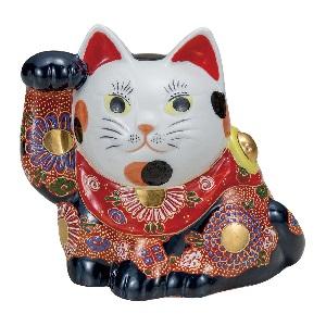 K5-1579 九谷焼 5号横座り招き猫 盛