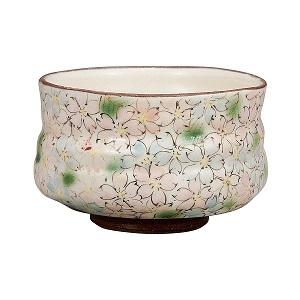 K5-800 九谷焼 抹茶碗 桜詰