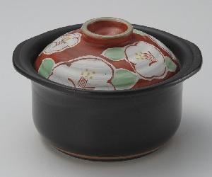32-15143 萬古焼 IH専用ご飯鍋 赤絵椿 2合炊き