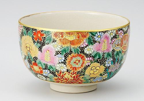 K3-853 九谷焼 抹茶碗 本金花詰
