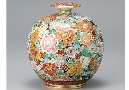 K3-1374 九谷焼 7号花瓶 本金花詰