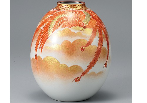 K3-1398 九谷焼 8号花瓶 赤絵鳳凰紋