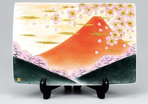 K3-1502 九谷焼 10号飾皿 富士に桜