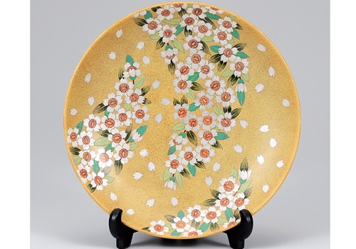 K3-1508 九谷焼 10号飾皿 桜舞